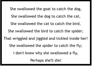I don't know why she swallowed the fly, perhaps she'll die!