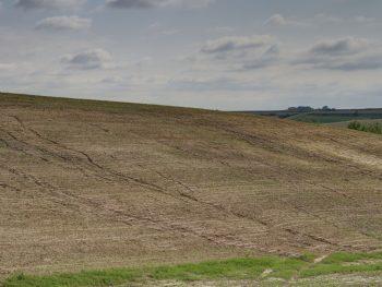 Water running down a field.