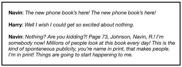 The Jerks quotes from the scene about being in the new phone book.